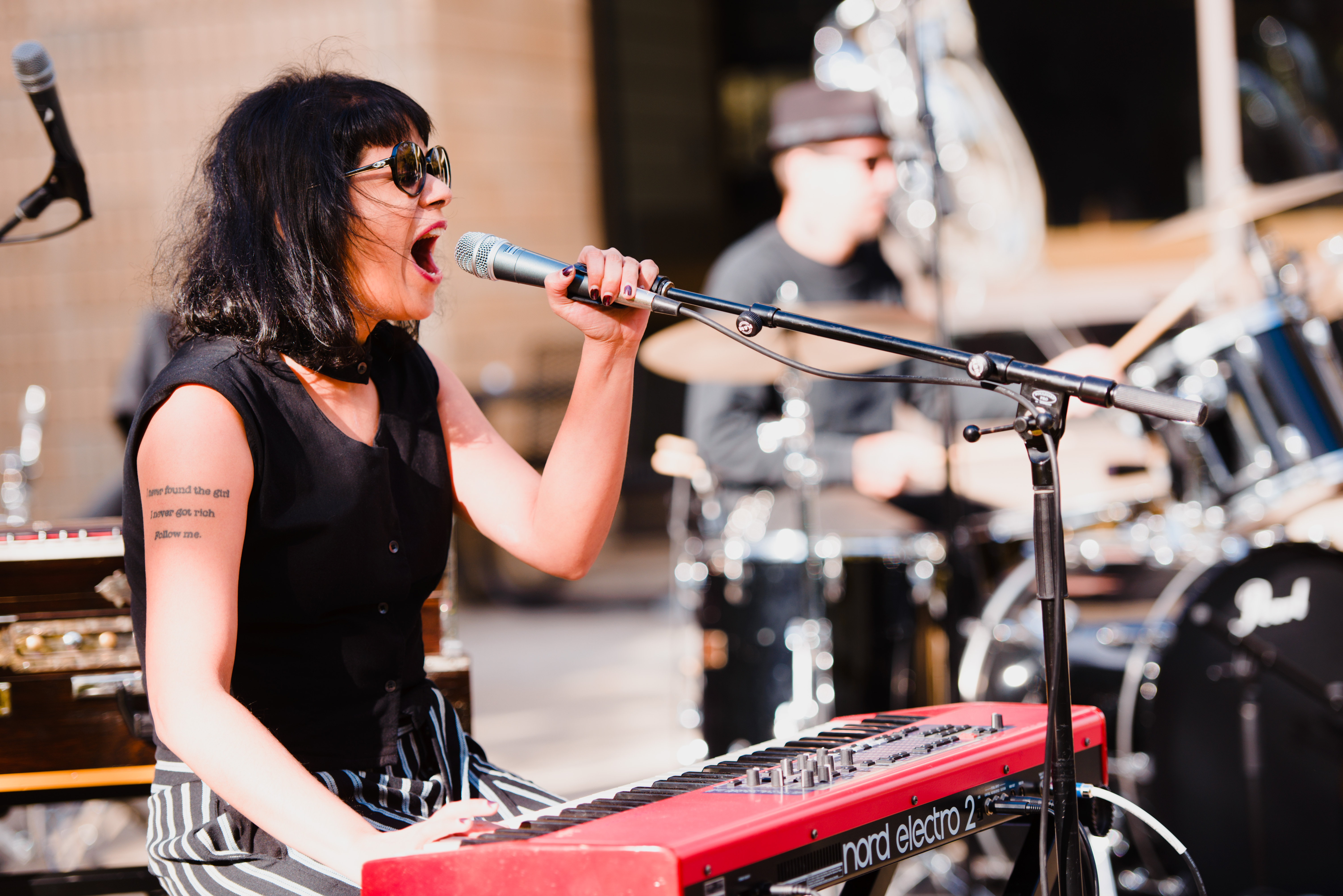 Shilpa Ray performs on the Norman Samuels Plaza