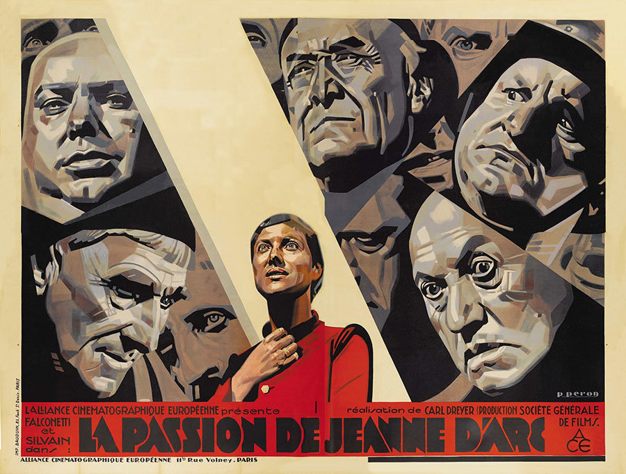 Movie poster for La Passion de Jeanne d'Arc with this title at the bottom of the image.  Above in a cell-shaded style, a woman with a shaved head in the foreground holds her hand to her heart as a beam of light shines on her.  Several men surround her with expressions of scorn, curiosity, disgust, and stoicism.