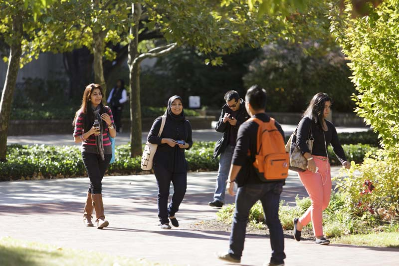 Students walking on campus, fall