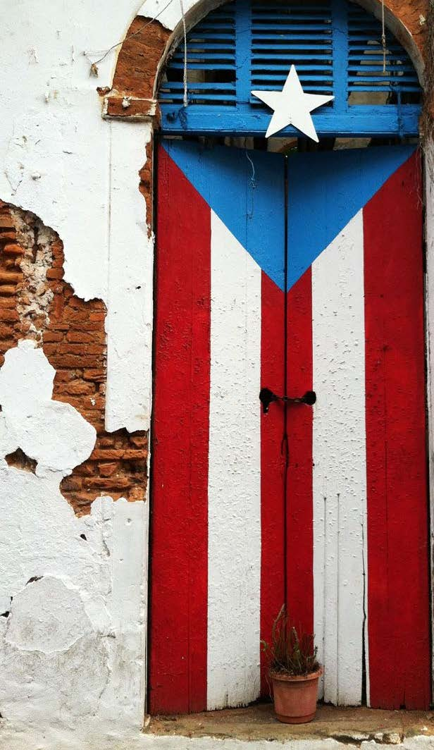 Doorway painted with Puerto Rican flag