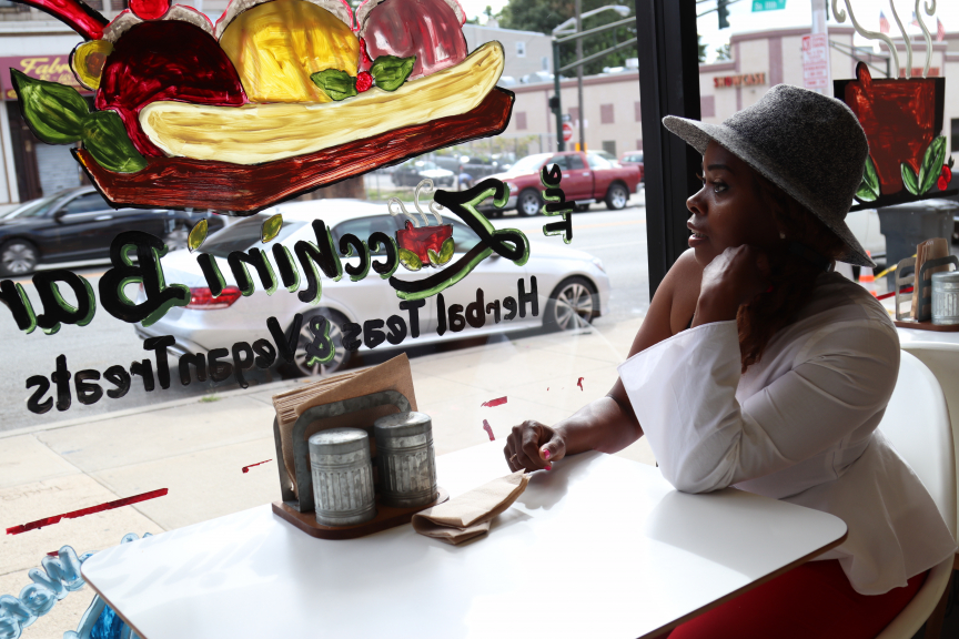 Rashena Burroughs, owner of Blueberry Café Juicebar and Vegan Grille and The Zucchini Bar, a dessert spot next door.