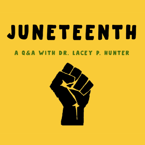 Juneteenth black fist on yellow background