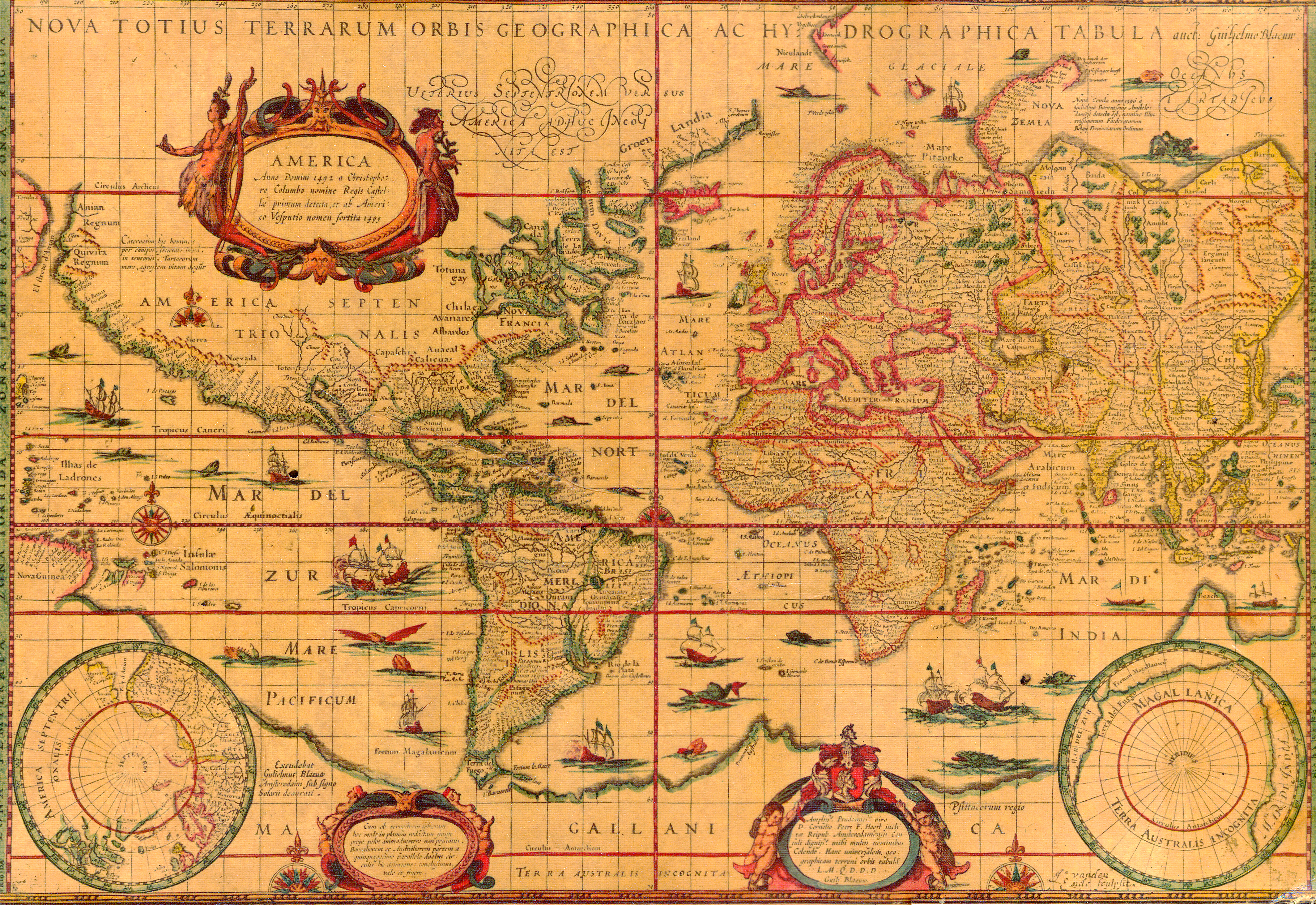 Yellowed map of the world with several illustrations of boats and beasts in the ocean and tiny script naming the islands of the sea and ports of the continents.