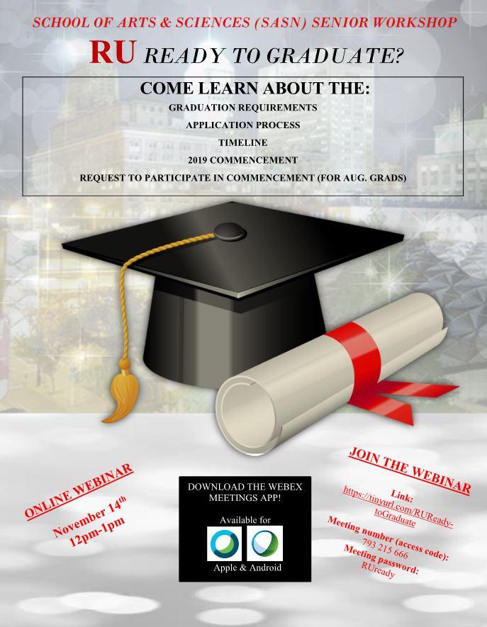 RU Ready To Graduate Senior Webinar   Rutgers SASN