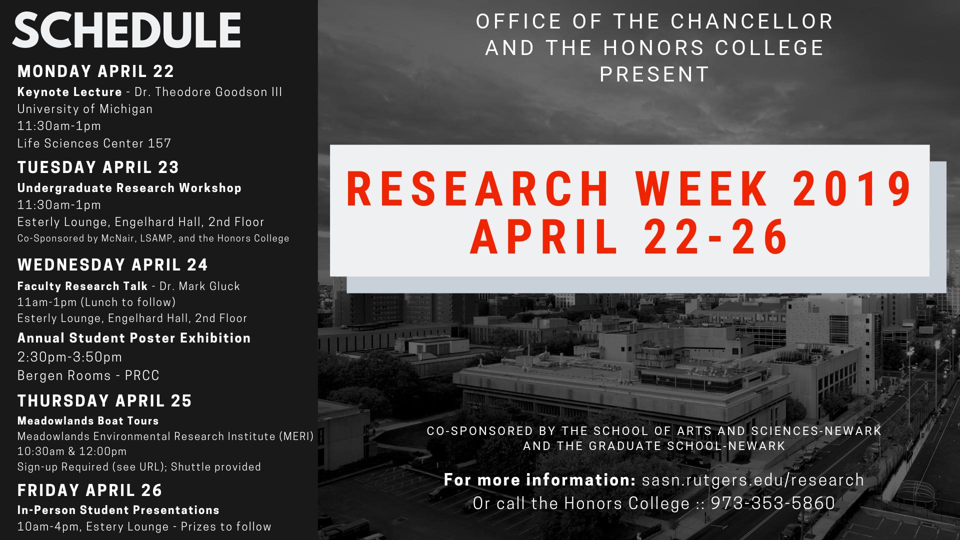 Undergraduate Research Workshop (Research Week 2019)   Rutgers SASN