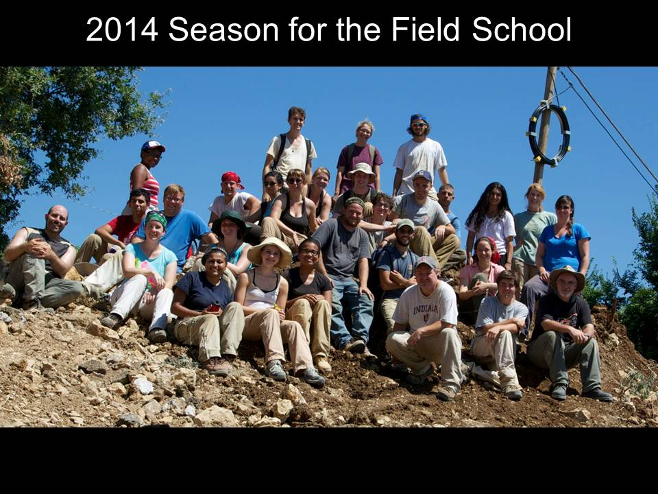 Group photo of the 2014 field school participants on a hillside