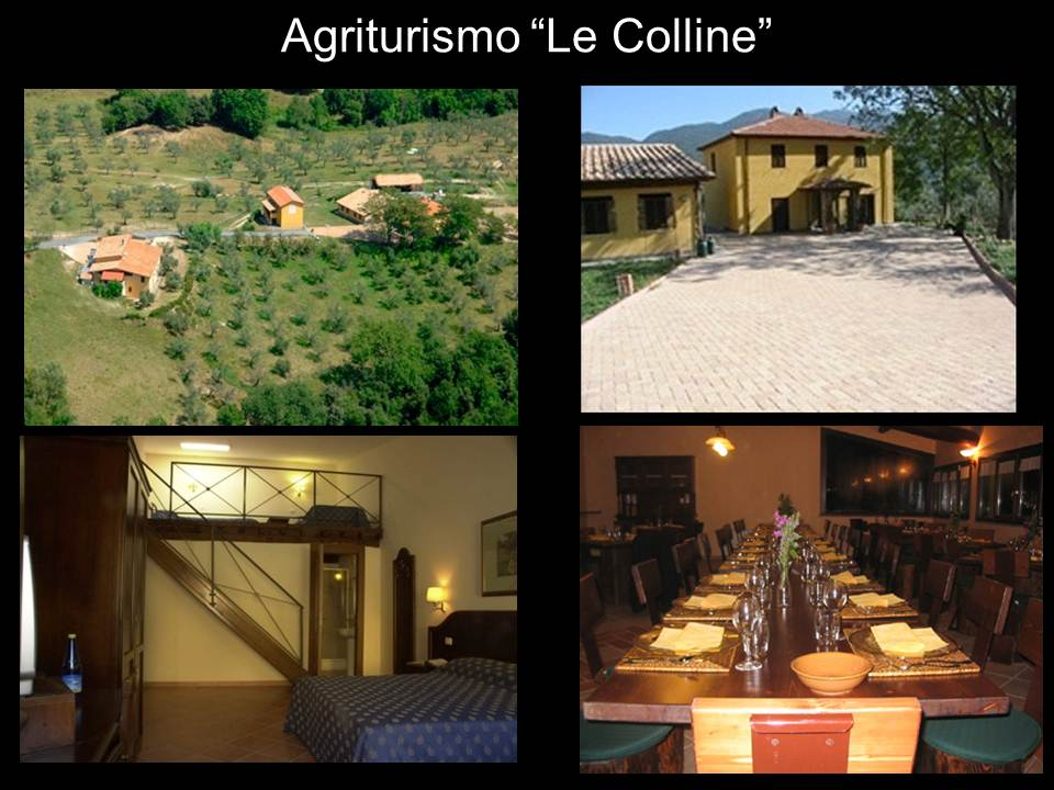 Mosaic of photos of Le Colline showing bedroom, exterior, and dining room.