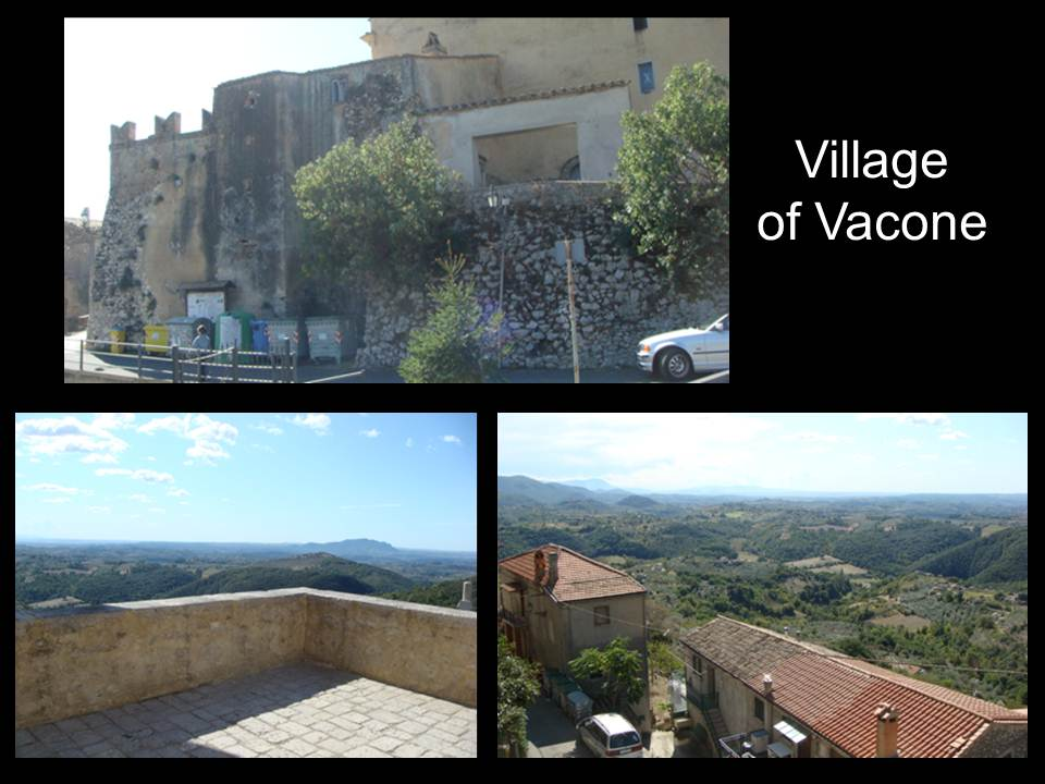 Mosaic of photos of the village of Vacone showing the hilly landscape, the streets and its cream colored brick buildings.