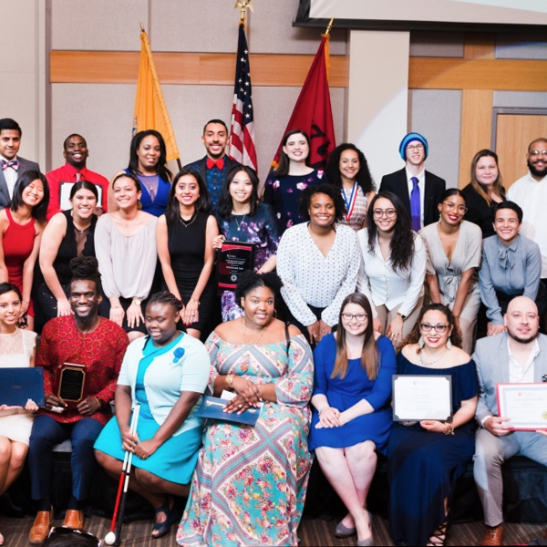Group photo of students at awards dinner