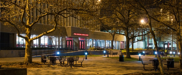 Paul Robeson Campus Center at night