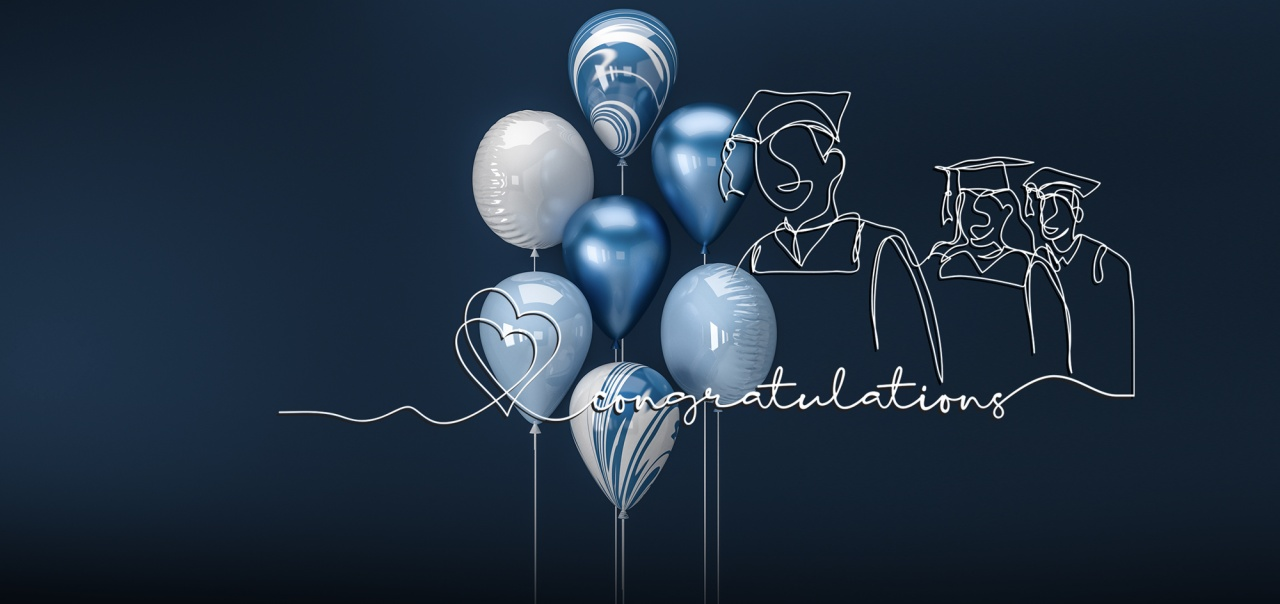 Congratulations with shiloutte of graduates in regalia and baloons on blue background