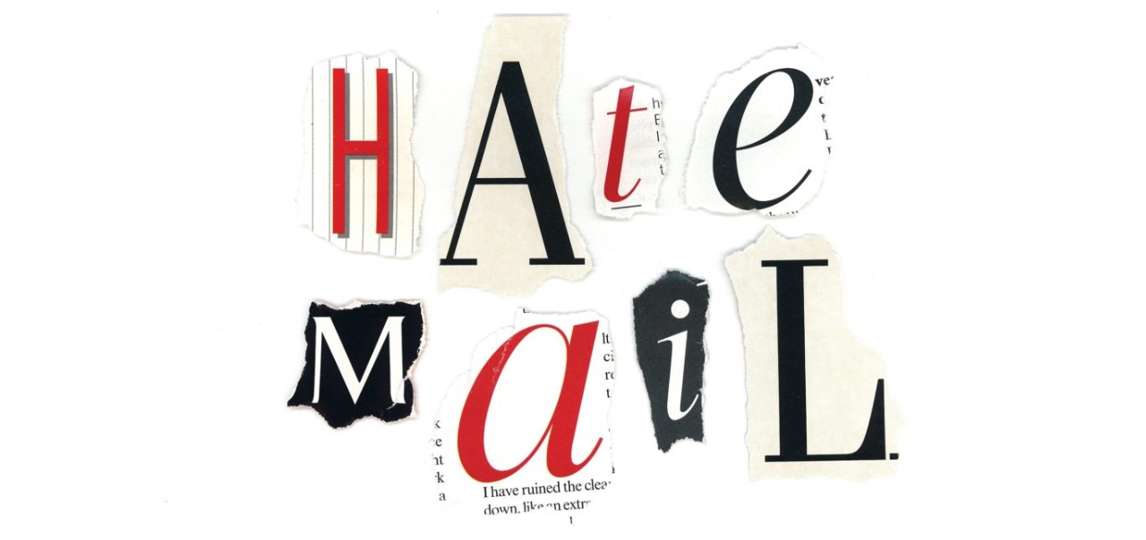 "cut out letters spelling out ""Hate Mail"""