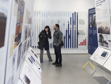 visitors at a States of Incarceration exhibit