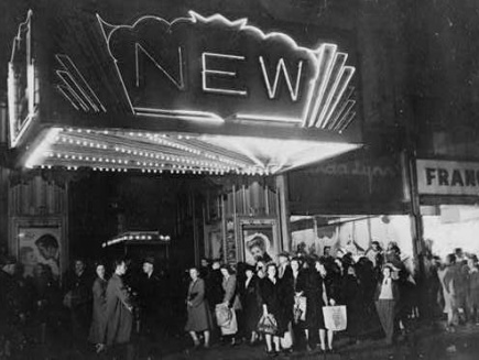 Black and white theater marquee