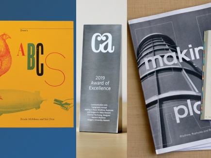 Images of Drew's ABCs, award from CA, Making a Place spread