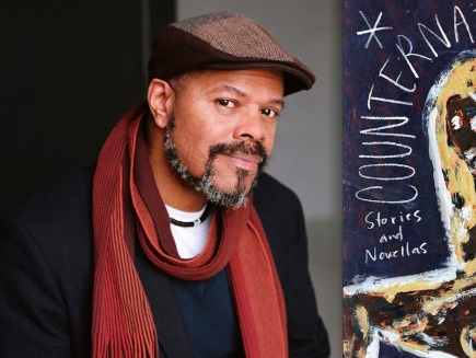 "John Keene (L) and cover of ""Counternarratives"" (R)"