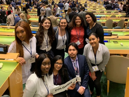 Students in the UN headquarters in New York City