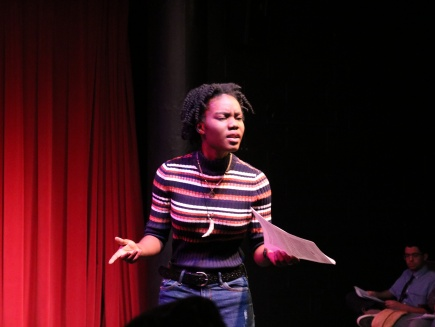 Student Ashley Bourne performs monologue as Gary Campbell