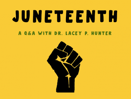 Juneteenth graphic with raised fist