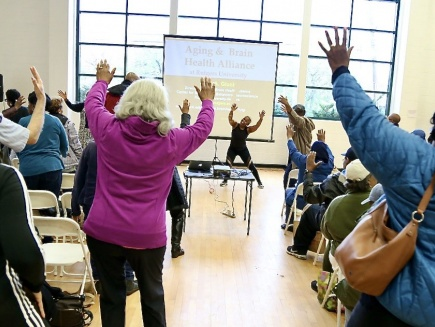 cardio fitness class at Newark Housing Authority clubhouse