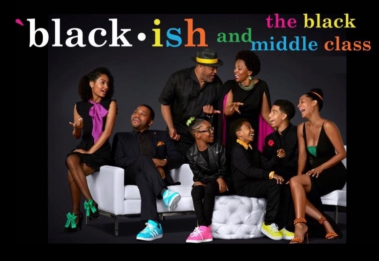"""Black-ish and the Black Middle Class"" course title superimposed on cast photo of sitcom showing family talking and laughing."