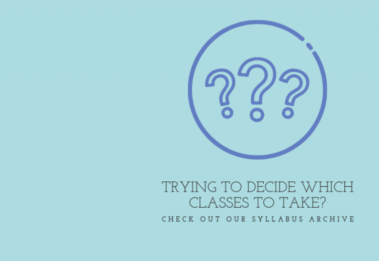 Circle with three question marks inside it underscored by text reading TRYING TO DECIDE WHICH CLASSES TO TAKE? CHECK OUT OUR SYLLABUS ARCHIVE
