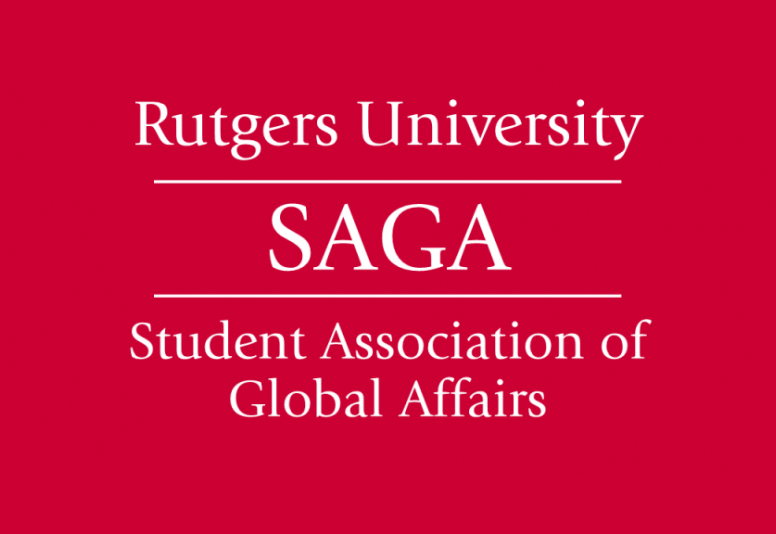 "SAGA logo. Text reads: Rutgers University SAGA ""Student Association of Global Affairs"""