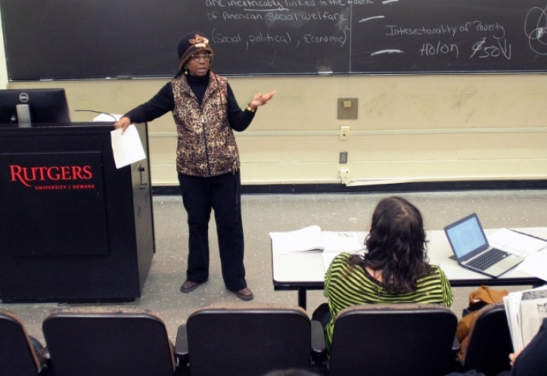 The Department of Social Work's Audrey Redding-Raines engaging with her class
