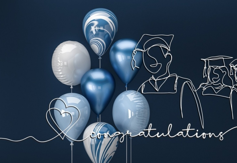 congratulations with blue and silver balloons