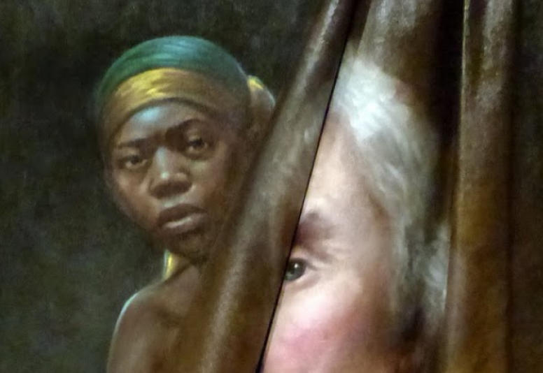 A Black woman peers around a painting of a white man peeling away as if the latter painting was covering the former.